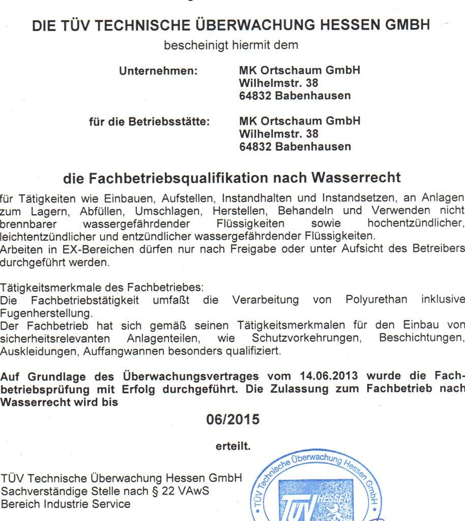 WHG-Zertifikat